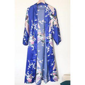 Zhong Sang Peacocks Twisting Satin Kimono Robe